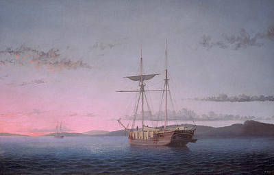 Lumber Schooners At Evening On Penobscot Bay Poster by Fitz Henry Lane