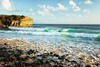 Luminous Beauty Of The Pacific Ocean At Shipwreck Beach. Poster by Larry Geddis