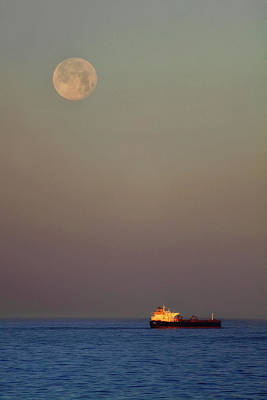 Poster featuring the photograph Luna And The Ship - Ocean - Cargo Ship - Seascape by Jason Politte