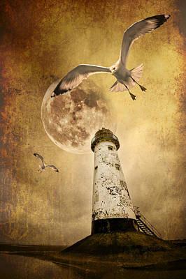 Lunar Flight Poster by Meirion Matthias