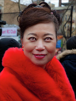 Lunar New Year Nyc 2017 Woman In Red Coat Poster by Robert Ullmann