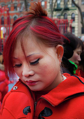 Lunar New Year Nyc 2017 Woman With Dyed Red Hair Poster by Robert Ullmann