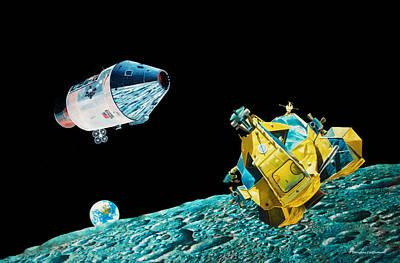 Lunar Orbit Rendevzous Poster by Douglas Castleman