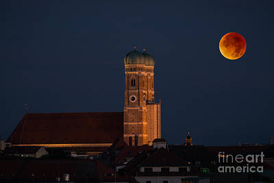 Lunare Eclipse Above Munich Poster by Hannes Cmarits