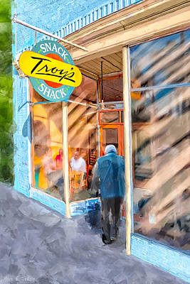 Poster featuring the mixed media Lunch At Troy's Snack Shack by Mark Tisdale
