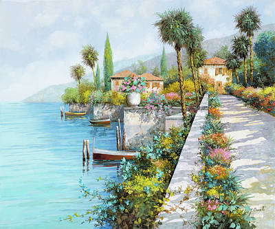 Bush Poster featuring the painting Lungolago by Guido Borelli