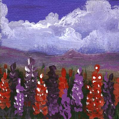 Poster featuring the painting Lupine Land #1 by Anastasiya Malakhova