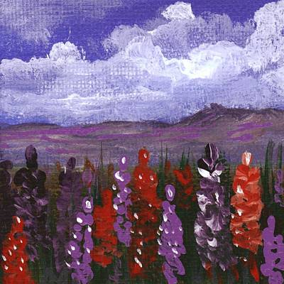 Poster featuring the painting Lupine Land #2 by Anastasiya Malakhova