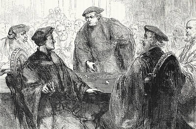 Luther And Zwingle Discussing At Marburg Poster