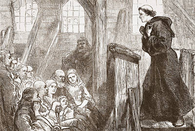Luther Preaching In The Old Wooden Church At Wittemberg Poster