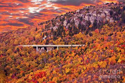 Lynn Cove Viaduct Blue Ridge Autumn Fire Sky Poster by Dan Carmichael
