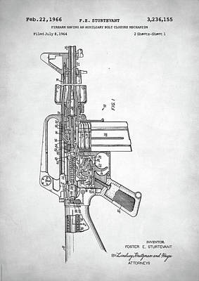 Poster featuring the digital art M-16 Rifle Patent by Taylan Apukovska