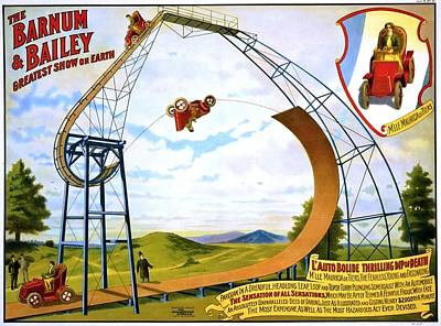 M Lle Mauricia De Tiers Auto Bolide Thrilling Dip Of Death, Poster For Barnum And Bailey, Ca. 1905 Poster