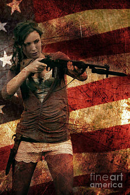 M1 Carbine On American Flag Poster
