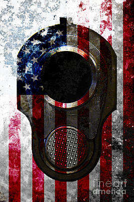 M1911 Colt 45 Muzzle And American Flag On Distressed Metal Sheet Poster