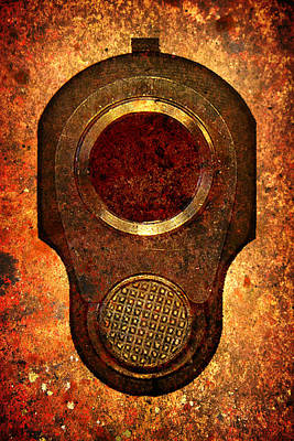 M1911 Muzzle On Rusted Background Poster