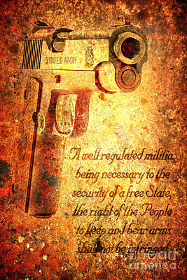 M1911 Pistol And Second Amendment On Rusted Overlay Poster