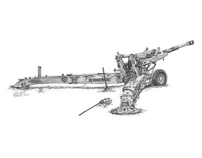 Poster featuring the drawing M198 Howitzer - Standard Size Prints by Betsy Hackett