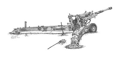 Poster featuring the drawing M198 Howitzer - Natural Sized Prints by Betsy Hackett