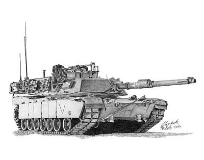 Poster featuring the drawing M1a1 C Company Commander Tank by Betsy Hackett