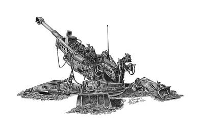 Poster featuring the drawing M777a1 Howitzer by Betsy Hackett