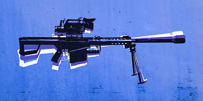 M82 Sniper Rifle On Blue Poster by Michael Tompsett
