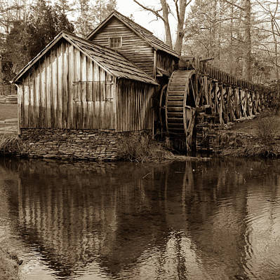Mabry Mill In Sepia 1x1 - Virginia Poster by Gregory Ballos
