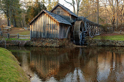 Mabry Mill Reflection In Dan Virginia Poster