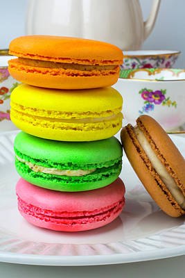 Macaroons On White Plate Poster