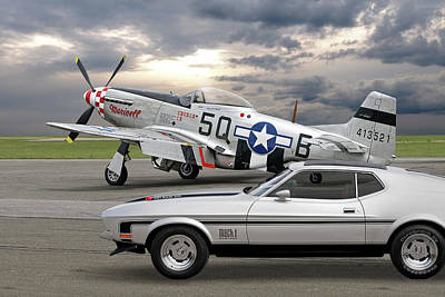 Mach 1 Mustang With P51  Poster by Gill Billington