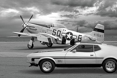 Mach 1 Mustang With P51 In Black And White Poster by Gill Billington
