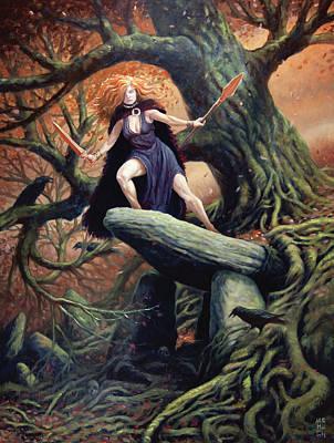 Macha The Irish Goddess Of War Poster by Jeremy McHugh