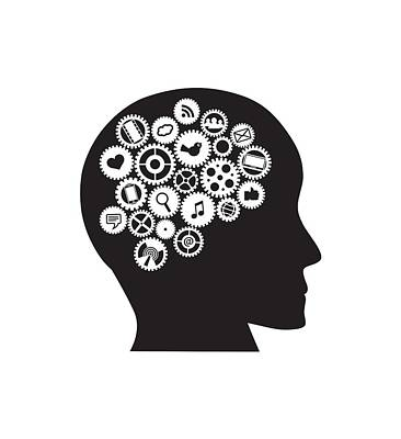 Machine Gears Human Head With Social Media Symbols Poster