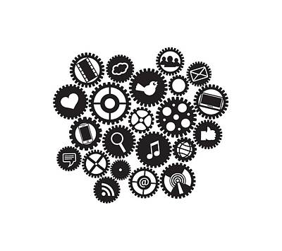 Machine Gears With Social Media Symbols Poster
