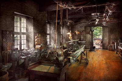 Machinist - Lathe - A Long Lathe Poster by Mike Savad