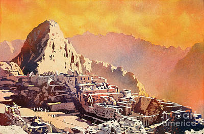 Poster featuring the painting Machu Picchu Sunset by Ryan Fox