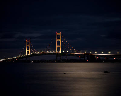 Mackinac Bridge At Night Poster by Larry Carr