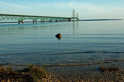 Poster featuring the photograph Mackinac Bridge Michigan by LeeAnn McLaneGoetz McLaneGoetzStudioLLCcom