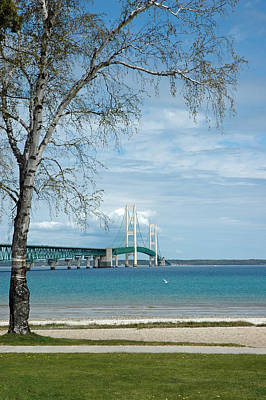Poster featuring the photograph Mackinac Bridge Park by LeeAnn McLaneGoetz McLaneGoetzStudioLLCcom
