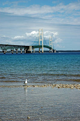 Poster featuring the photograph Mackinac Bridge Private Seagull Beach by LeeAnn McLaneGoetz McLaneGoetzStudioLLCcom