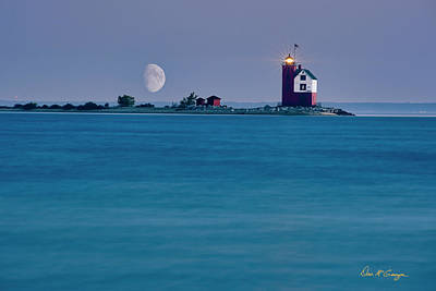 Poster featuring the photograph Mackinac Moon by Dan McGeorge