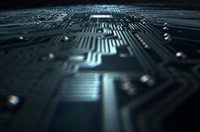 Macro Circuit Board Technology Poster by Allan Swart