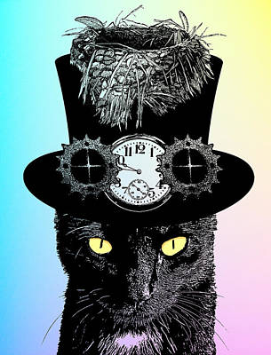 Mad Hatter Cat Poster