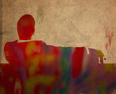 Mad Men Watercolor Silhouette Painting On Worn Parchment No 3 Poster