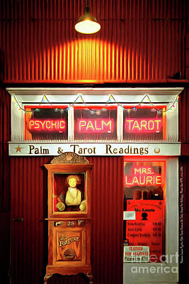 Madame Lauries Psychic Palm Tarot Fortune Be Told Closed For Holiday Please Use Atm Circa 2016 Poster by Wingsdomain Art and Photography