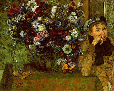 Madame Valpincon With Chrysanthemums  Poster by Edgar Degas