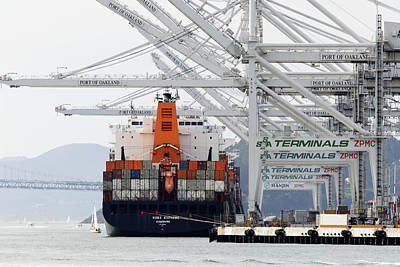 Made In China -- Container Ship At Port Of Oakland, California Poster by Darin Volpe