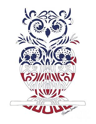 Made In The Usa Tribal Owl Poster