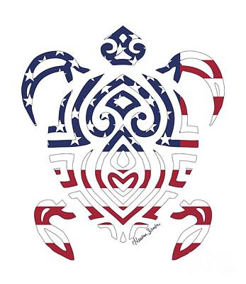 Made In The Usa Tribal Turtle Poster