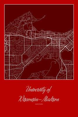 Madison Street Map - University Of Wisconsin-madison Madison Map Poster